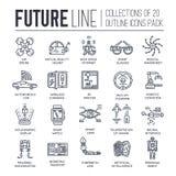Högvärdig kvalitets- framtida tunn linje ollectionuppsättning I morgon minimalistic symbolpacke Modern teknologimall av symboler Royaltyfri Bild