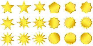 Högvärdig kvalitets- guld- etikett över vit bakgrund Guld- tecken Inskränkt upplaga, till salu klistermärke logo stock illustrationer