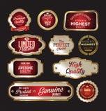 Högvärdig kvalitets- guld och röda etiketter Arkivbilder