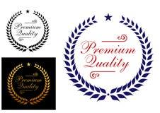 Högvärdig kvalitets- lagerkranslogo eller emblem royaltyfri illustrationer