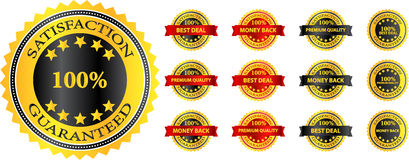 Högvärdig kvalitets- tillfredsställelse garanterat emblem Royaltyfria Foton
