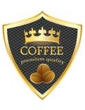 Högvärdig kvalitets- vektor för sköldsymbolskaffe royaltyfri foto