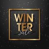 Högvärdig lyxig vinterSale bakgrund för feriepromobaner Guld- konfettier med guld- jultext på vip-svartbakgrund stock illustrationer