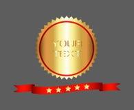 Högvärdig och högkvalitativ guld- etikett Fotografering för Bildbyråer