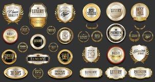 Högvärdig och lyxig silver och svarta retro emblem och etikettsamling vektor illustrationer