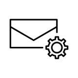 Högvärdig postsymbol eller logo i linjen stil Fotografering för Bildbyråer