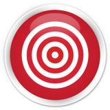 Högvärdig röd rund knapp för målsymbol Arkivbild