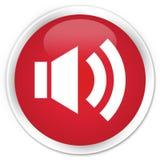 Högvärdig röd rund knapp för volymsymbol Arkivbilder