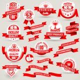 Högvärdig uppsättning av etiketter och band vektor illustrationer
