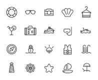 Högvärdig uppsättning av kryssningslinjesymboler stock illustrationer