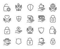 Högvärdig uppsättning av säkerhetlinjen symboler Fotografering för Bildbyråer