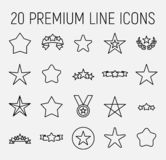 Högvärdig uppsättning av stjärnalinjen symboler royaltyfri illustrationer