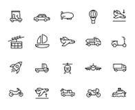 Högvärdig uppsättning av transportlinjen symboler stock illustrationer