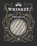 Högvärdig whiskyetikett med trumman och kronan royaltyfri illustrationer