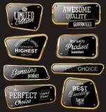 Högvärdiga kvalitets- guld- etiketter Arkivbilder