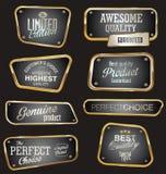 Högvärdiga kvalitets- guld- etiketter Arkivbild