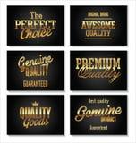 Högvärdiga kvalitets- guld- etiketter Arkivfoton