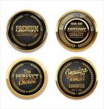 Högvärdiga kvalitets- guld- etiketter Royaltyfri Fotografi