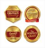 Högvärdiga kvalitets- guld- etiketter Royaltyfri Bild