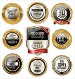 Högvärdiga kvalitets- guld- etiketter Royaltyfria Bilder