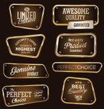 Högvärdiga kvalitets- guld- och bruntetiketter Arkivfoto