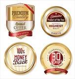 Högvärdiga kvalitets- guld- sköldar och etiketter Royaltyfri Fotografi