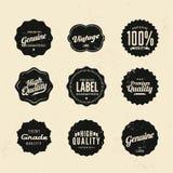 Högvärdiga kvalitets- klistermärke- och beståndsdeletiketter Arkivbild