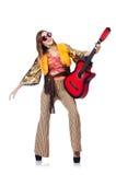 Högväxt gitarrspelare Arkivfoton