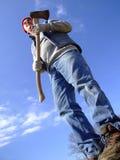 högväxt lumberjackman Fotografering för Bildbyråer