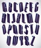 högväxt och tunn stilsort för 3d, monokromt dimensionellt alfabet stock illustrationer