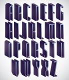 högväxt och tunn stilsort för 3d, monokromt dimensionellt alfabet royaltyfri illustrationer