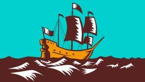 Högväxt Retro träsnitt för seglingskepp arkivfilmer