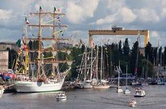 Högväxt Ship i Szczecin Arkivfoto