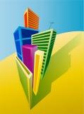Högväxta byggnader vektor illustrationer