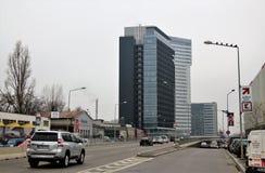 Högväxta byggnader, i Bucharest, Rumänien Arkivfoto