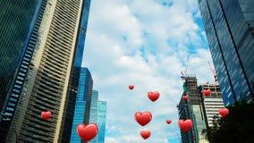 Högväxta byggnader med hjärtor stock video