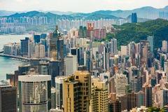 Högväxta byggnader på Hong Kong Island Fotografering för Bildbyråer