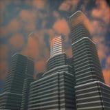 Högväxta byggnader på solnedgången Fotografering för Bildbyråer