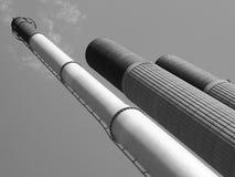 Högväxta industriella lampglas i stål och betong Royaltyfri Foto