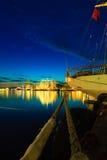 Högväxta skepp springer i hamn på Juli 26, 2014 i Bergen, Norge Royaltyfri Fotografi