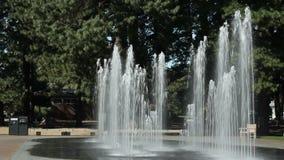 Högväxta vattenspringbrunnar som kastrerar upp arkivfilmer