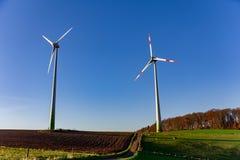Högväxta vindturbiner på lantlig landskapplats för bygd med kon Fotografering för Bildbyråer