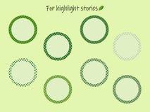 Höhepunkt-Geschichtenikonen mit grünen Erbsen für die Aufschriften vektor abbildung