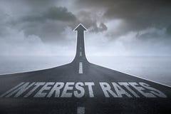 Höhere Zinssätze Stockbild