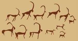 Höhle-Zeichnungen der alten Tiere Stockfotografie