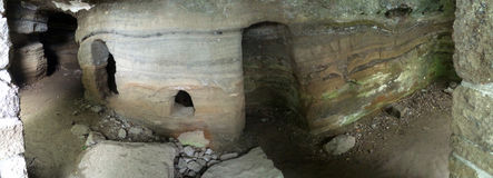 Höhlen Sie Häuser für Mönche in Tihany-Halbinsel, Ungarn Europa aus Stockbild