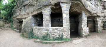 Höhlen Sie Häuser für Mönche in Tihany-Halbinsel, Ungarn Europa aus Stockfotos
