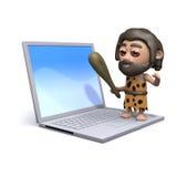 Höhlenbewohner 3d, der auf einem Laptop-PC steht Lizenzfreie Stockfotografie