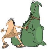 Höhlenbewohner, der auf einen Dinosaurier zieht Lizenzfreies Stockbild