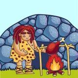 Höhlenbewohner, der Fleisch auf Feuerkarikatur-Vektorillustration kocht vektor abbildung